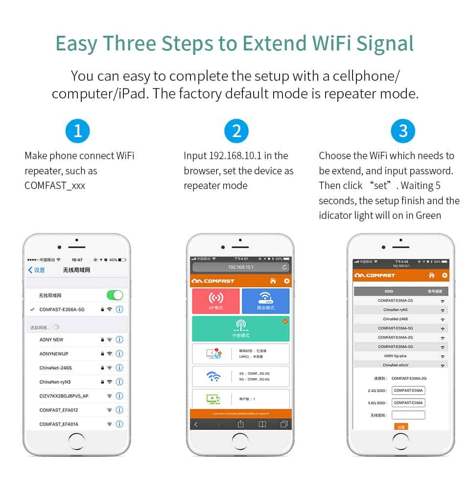 Comfast CF-WR752AC V2 easy three steps to extend WiFi signal