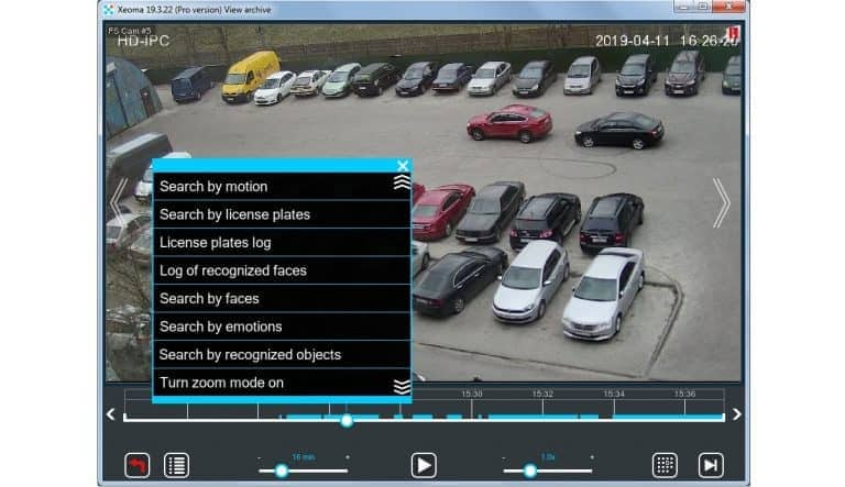 [Grabar |] En las grabaciones de archivo se pueden buscar objetos, caras, eventos de movimiento, placas, emociones, etc.