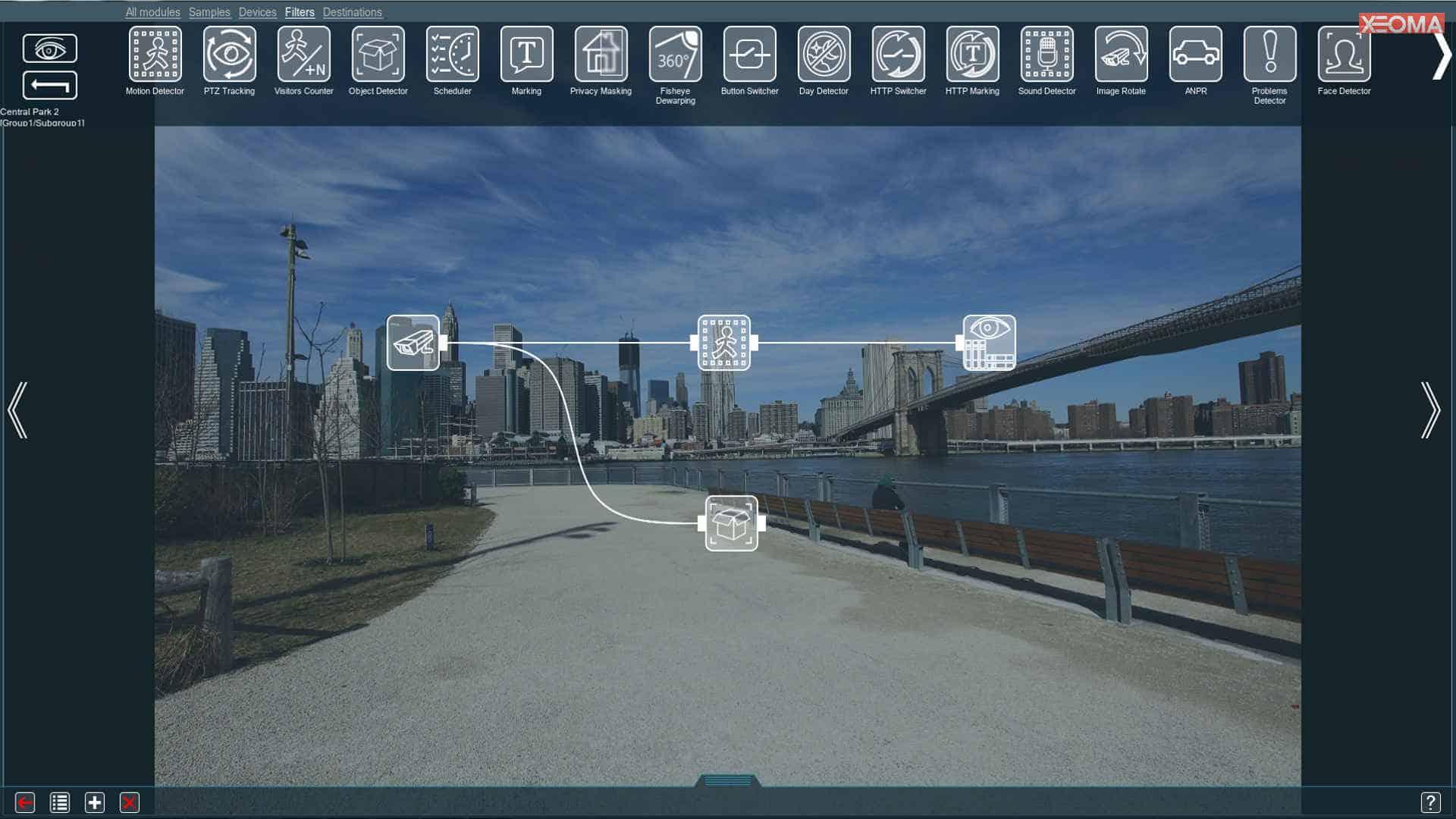 [Configuración flexible |] Representación visual de las características habilitadas: adjunte módulos entre sí de forma lógica