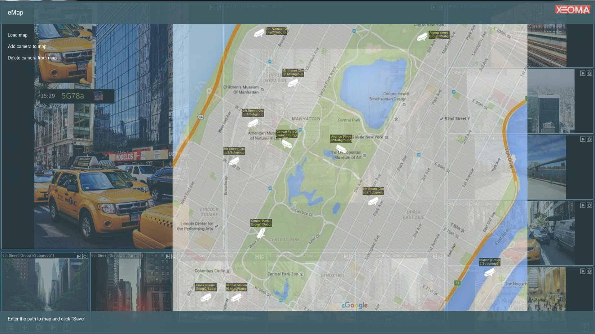 [Para proyectos a gran escala |] Mapa de ubicación de la cámara con iconos de activación y vista rápida de una cámara seleccionada