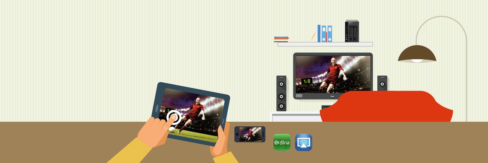 Disfrute sus películas en cualquier lugar Al ofrecer espacio suficiente para innumerables videos de alta definición (HD) y una amplia gama de opciones como DLNA, AirPlay, transcodificación en tiempo real en dispositivos móviles y conectividad HDMI, el Turbo ÑAS puede transformarse fácilmente en el componente principal de su cine en el hogar y entretenimiento hogareño.